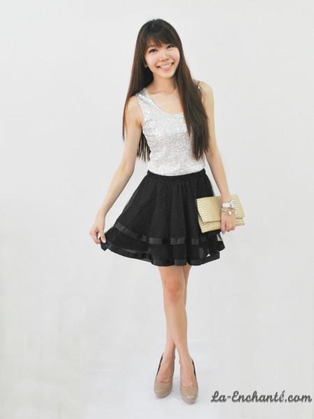 chiffon swirl skirt black preview2