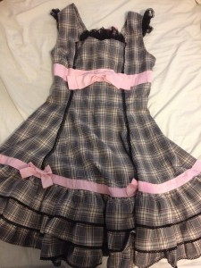 Off Brand Checkered Pink Bow JSK