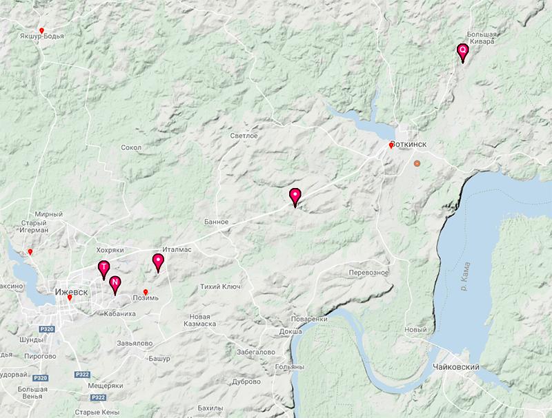 Карта моих наблюдений на inaturalist.org
