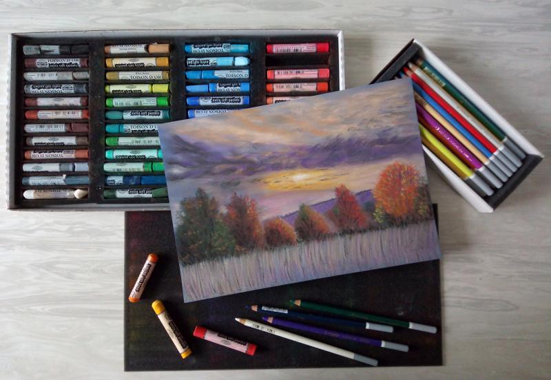 """""""Вечерело"""". Осенний пейзаж пастелью."""