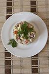 Домашний салат с печенью трески