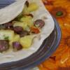 Лепешки с тыквой острой колбаской и маринованным луком