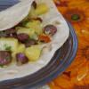 Лепешки с тыквой острой колбасой и маринованным луком