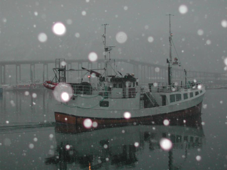 корабль под снегом