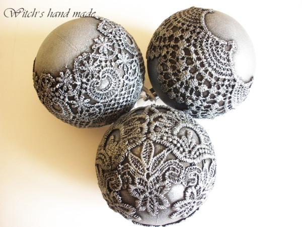 Новогодние шары из кружева своими руками