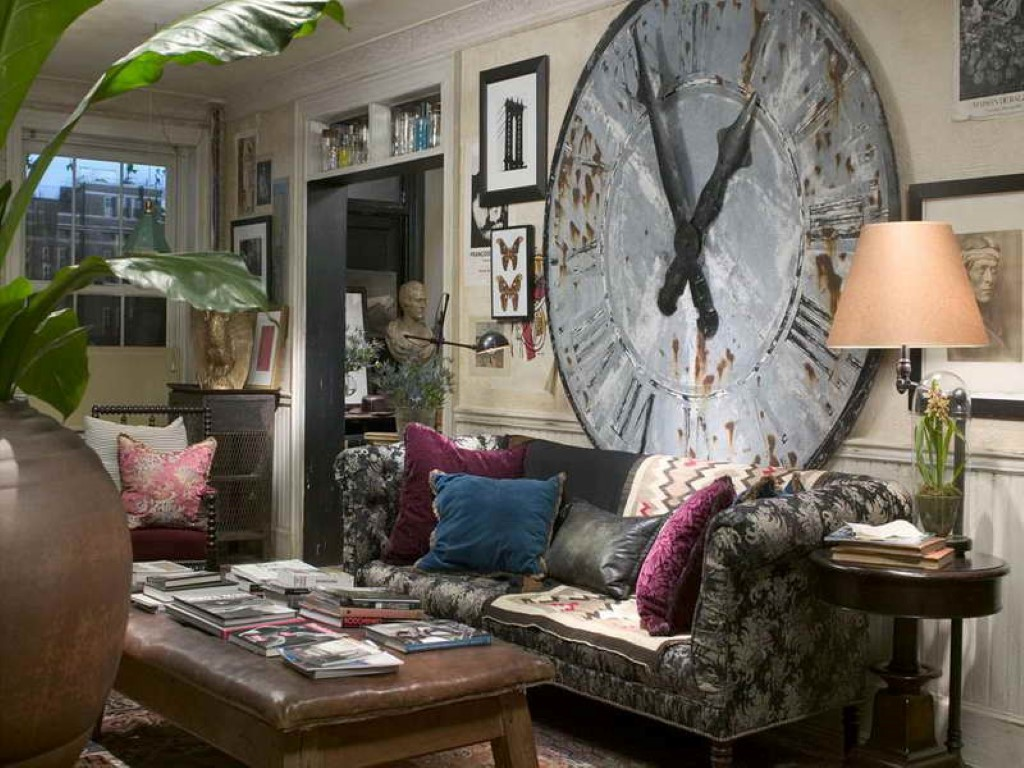 oversized-old-wall-clock-decor-in-fantastic-bohemian-interior-design-also-beautiful-fabric-sofa-with-colorful-pillows