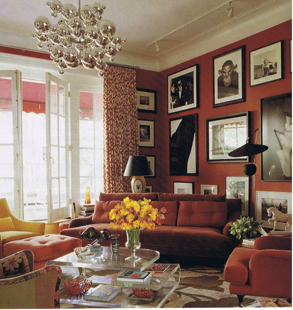 splendid-amazing-bohemian-stylish-home-design-for-living-room-black-picture-frames-on-red-wall-red-sofas-yellow-armchair-yellow-flowers-on-glass-coffe