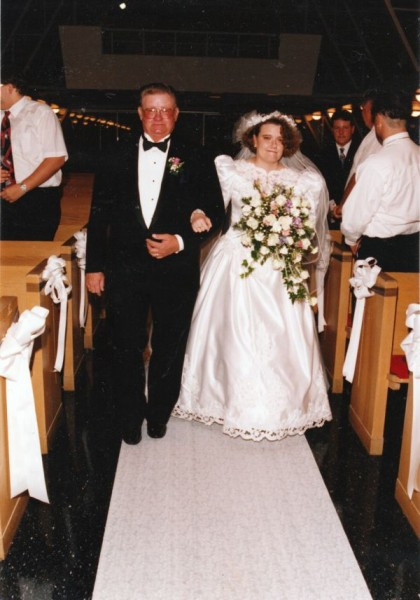 Dad walking me down the aisle, first marriage, 10 September 1994