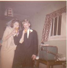 Mom and Dad at their wedding reception, 11-24-62