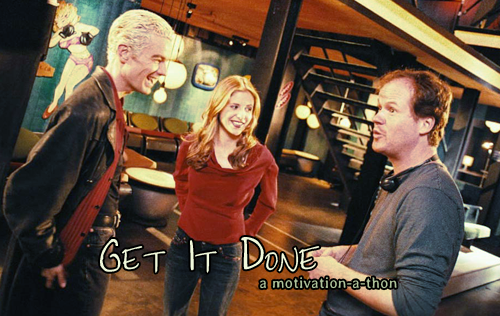 James Marsters and Sarah Michelle Gellar smile and laugh with Joss Whedon on the set of 'Once More With Feeling.' Text: Get It Done, a motivation-a-thon.