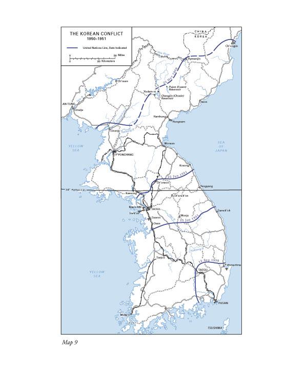 war korea map
