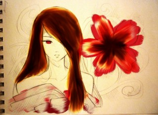 японка кимоно цвета розы засухи