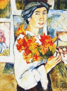 автопортрет с жёлтыми лилиями.