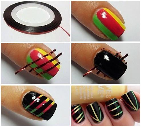 фольга полосками на ногтях фото