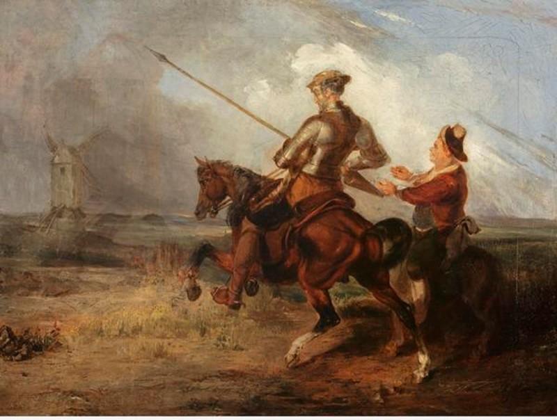 Уильям Стюарт Уотсон. Дон Кихот сражается с мельницами, ок. 1832