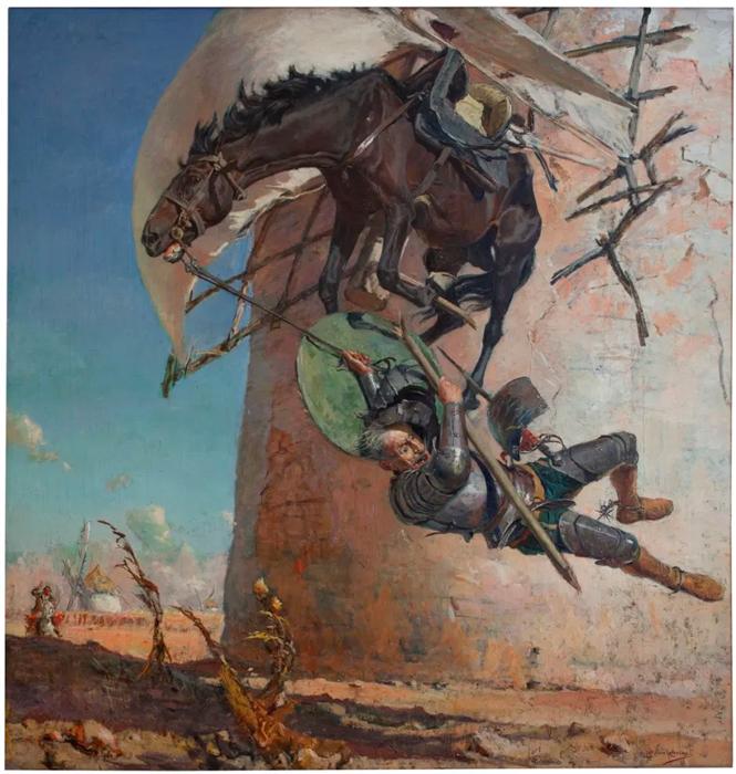 Хосе Морено Карбонеро. Дон Кихот и ветряная мельница, ок. 1900