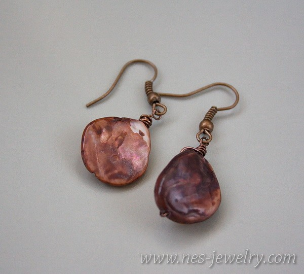 Earrings brown mother of pearl 4