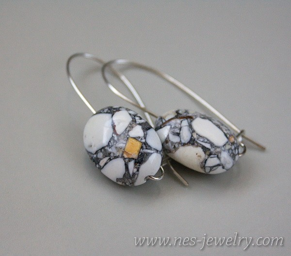 Earrings grey mosaic 2