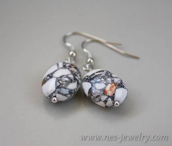 Earrings grey mosaic 3
