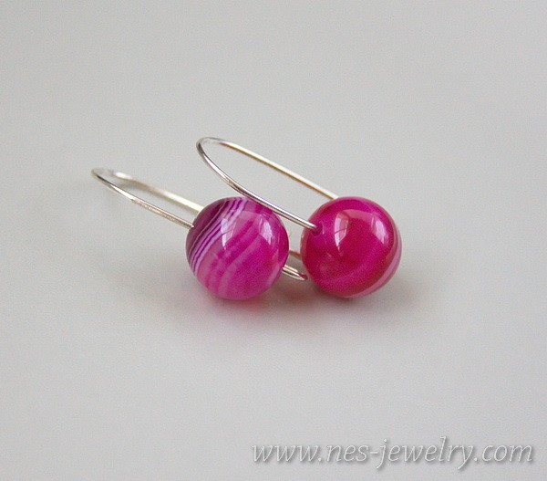Earrings pink agate 5