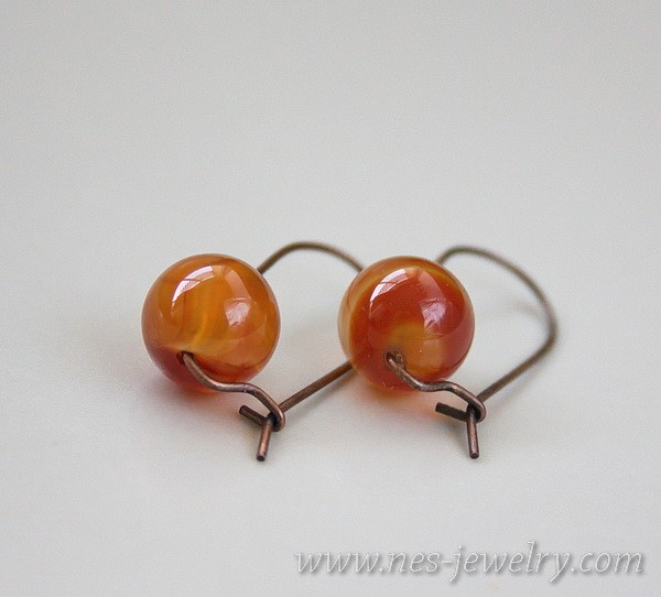 Earrings red agate 3