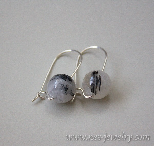 Earrings Black Rutilated Quartz 7