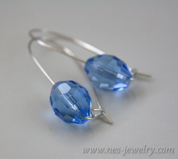 Earrings Blue faceted glass beads 1