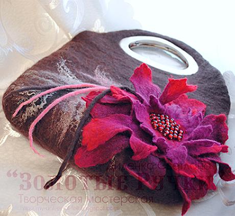 коричневая с краснім цветком сумка11
