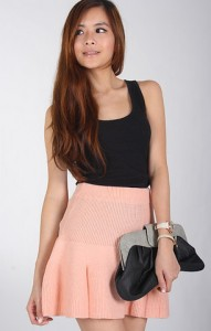 Knit Skater Skirt in Pink1