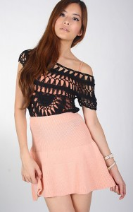 Knit Skater Skirt in Pink2