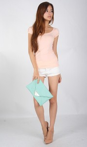 Basic Puff Sleeve Top in Peach