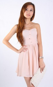 Lindy Gold Buttons Dress in Nude1