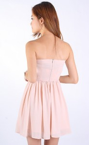 Lindy Gold Buttons Dress in Nude2