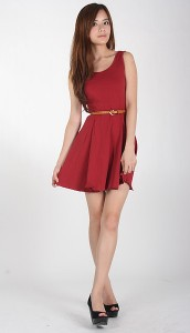 Reis Skater Dress in Red2