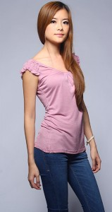 Ruched Sleeve Top in GrapeVine2