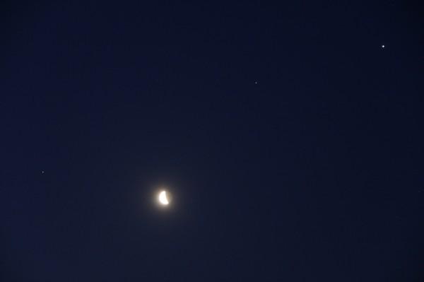 Соединение Луны, Марса, Сатурна и Юпитера утром 16.04.2020