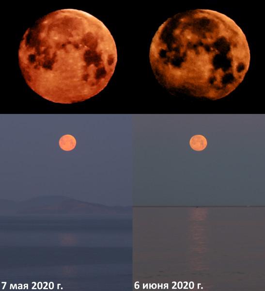 Полутеневое лунное затмение 06.06.2020 (коллаж)