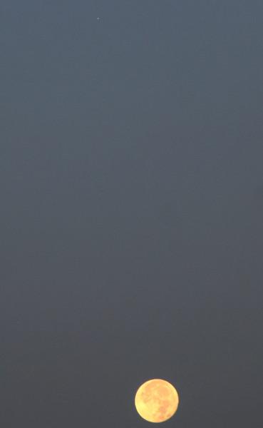 Луна (на следующий день после полнолуния) и Марс - утром 03.10.2020 (в небе над пос. Южно-Морской Приморского края).