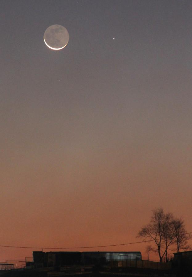 Соединение Луны и планеты Меркурий - утром 14.11.2020