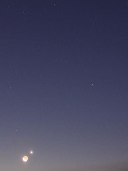 Соединение Луны и Венеры (и метеор) - утром 13 декабря 2020 года