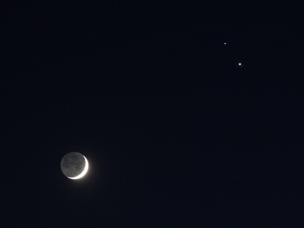 Соединение Луны, Юпитера и Сатурна 17.12.2020