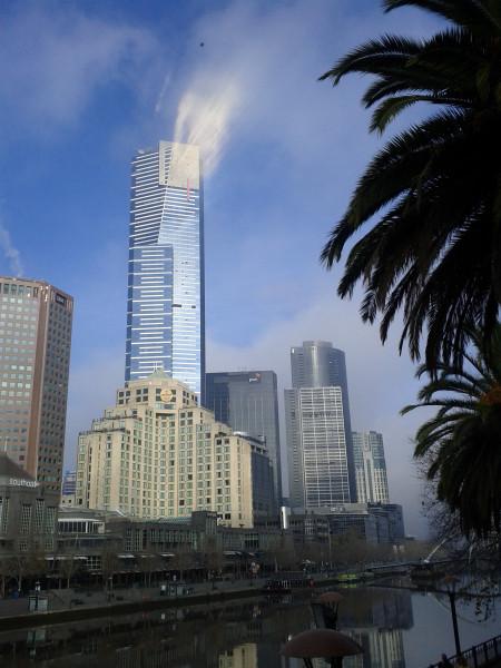 Eureka Tower in fog