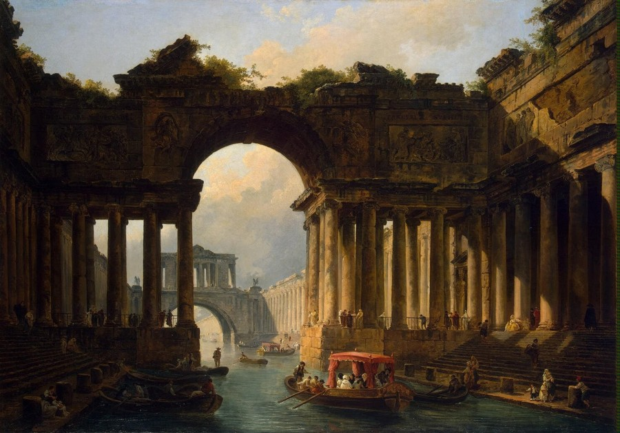 Robert Hubert - Architectural Landscape with a Canal - GJ-1294