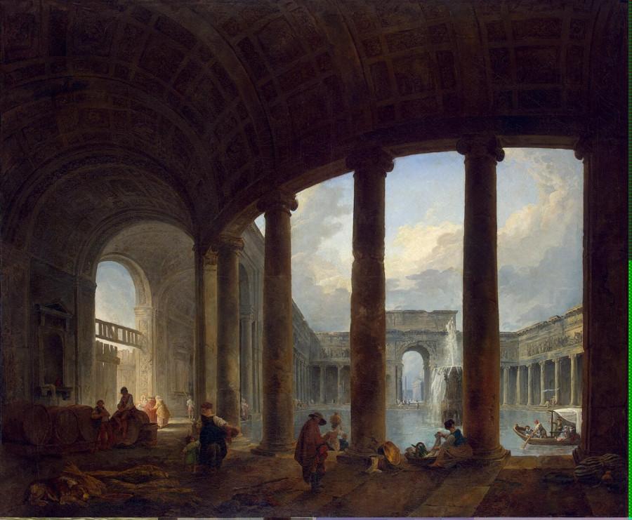 Robert Hubert - Pool Surrounded by a Colonnade (Villa Giulia ) - GJ-9609
