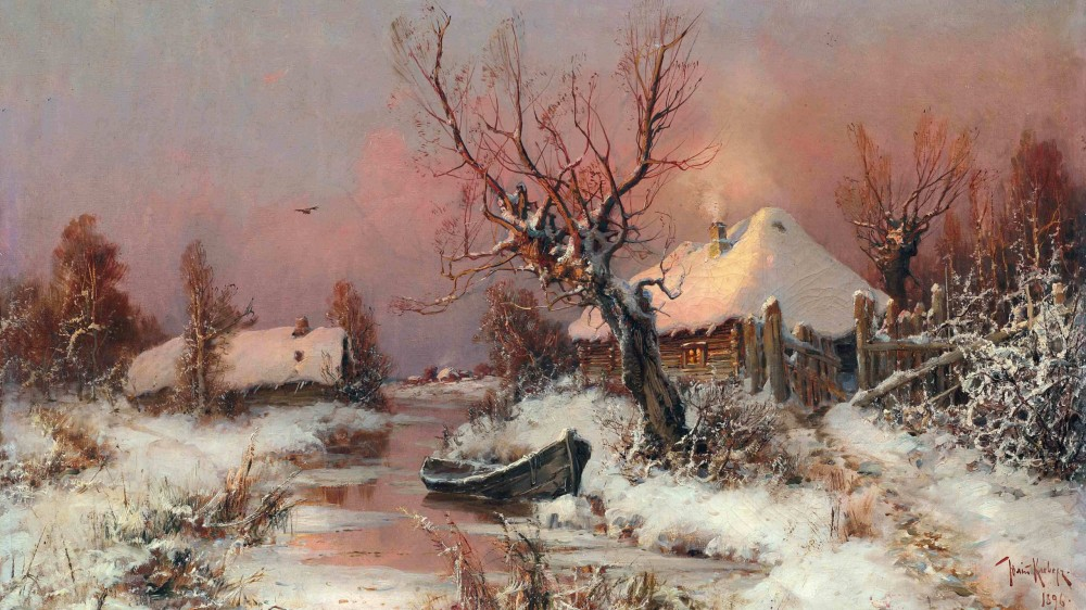 yuliy-yulevich-kleverлодка на зимнем ручье.jpg