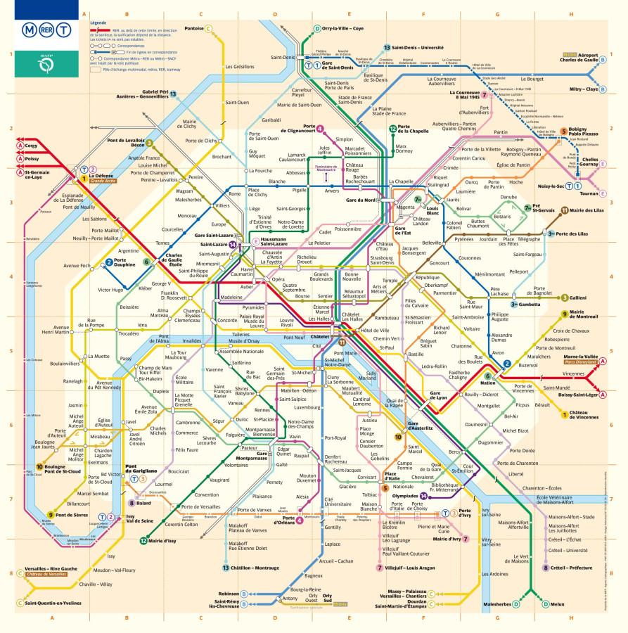 Париж карта метро