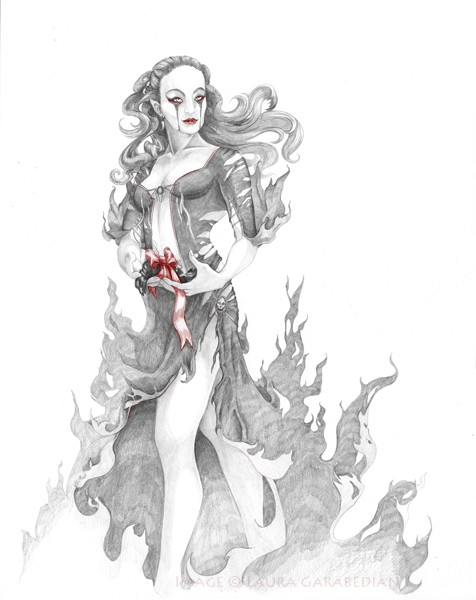 The Gift - Vampire like woman giving dead bird with bow - red accents