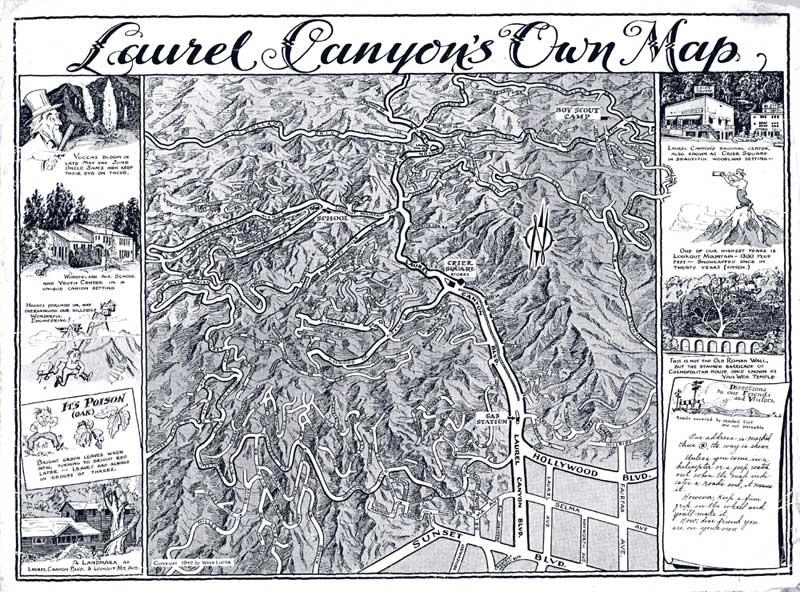 Старая карта Лорел каньона