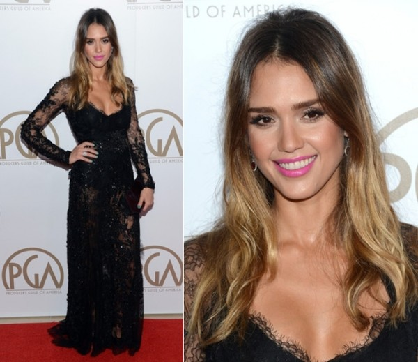 jessica-alba-2013-24th-annual-producers-guild-awards-elie-saab-black-lace-dress