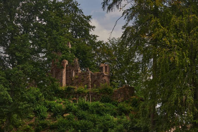 Die Eberhardsburg: im 19.Jahrhundert gehörte eine künstliche Ruinie dazu, wenn man keine echten hatte
